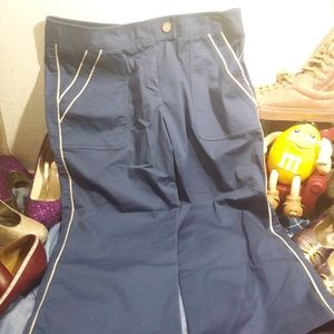 Liz Size 10 Activewear Capri Blue with White Pipin